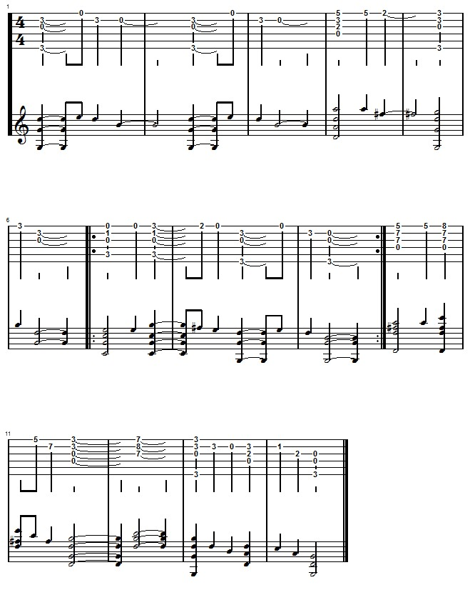 Tablature finger picking de douce nuit