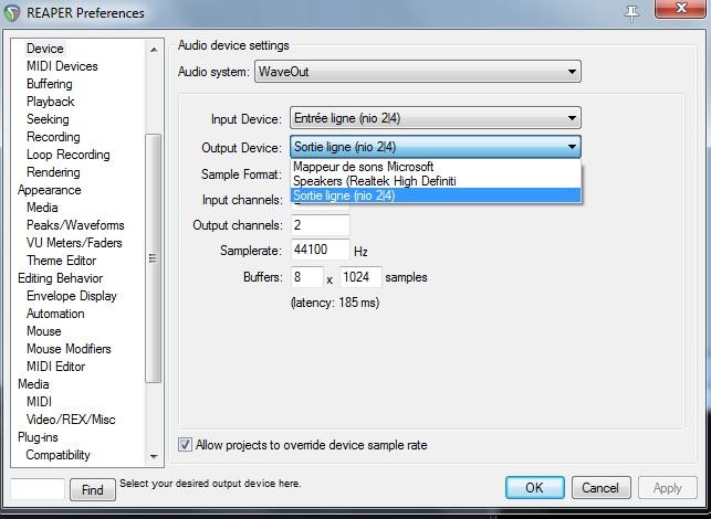 Choix d'input et output devices sur Reaper